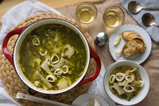 Calamari & Artichoke Soup with Garlic Crostini