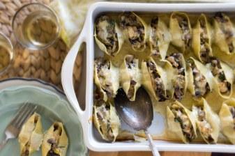 Mushroom, Leek & Artichoke Stuffed Shells