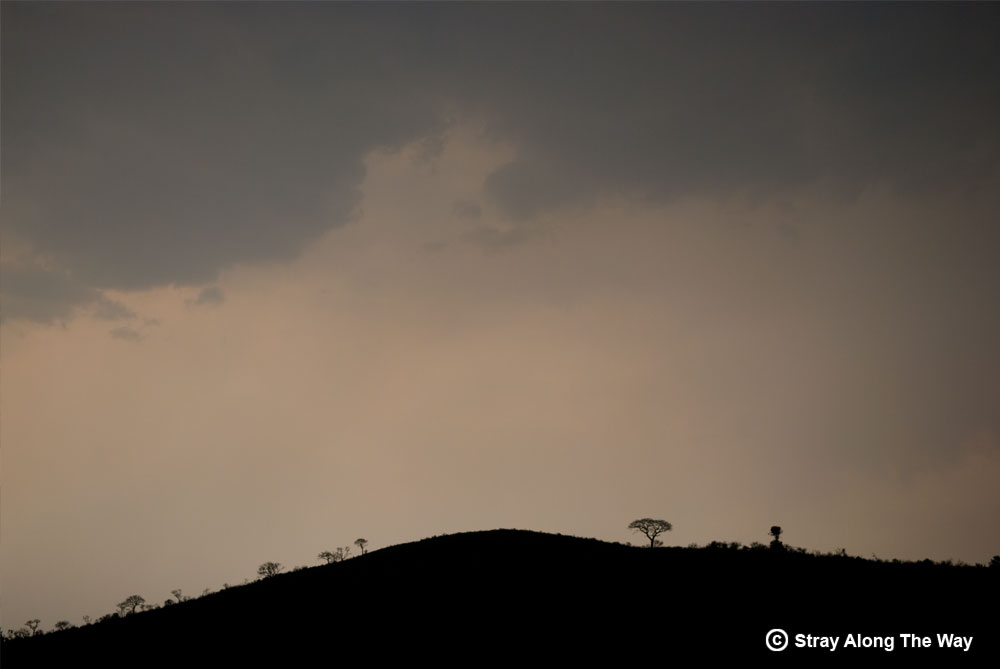 A storm brews over the hills of Hluhluwe-iMfolozi during the rainy season