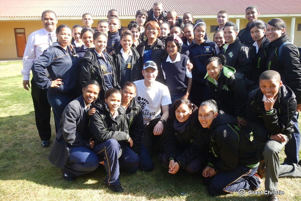 Grant with the pupils of Alexander Bay High School.
