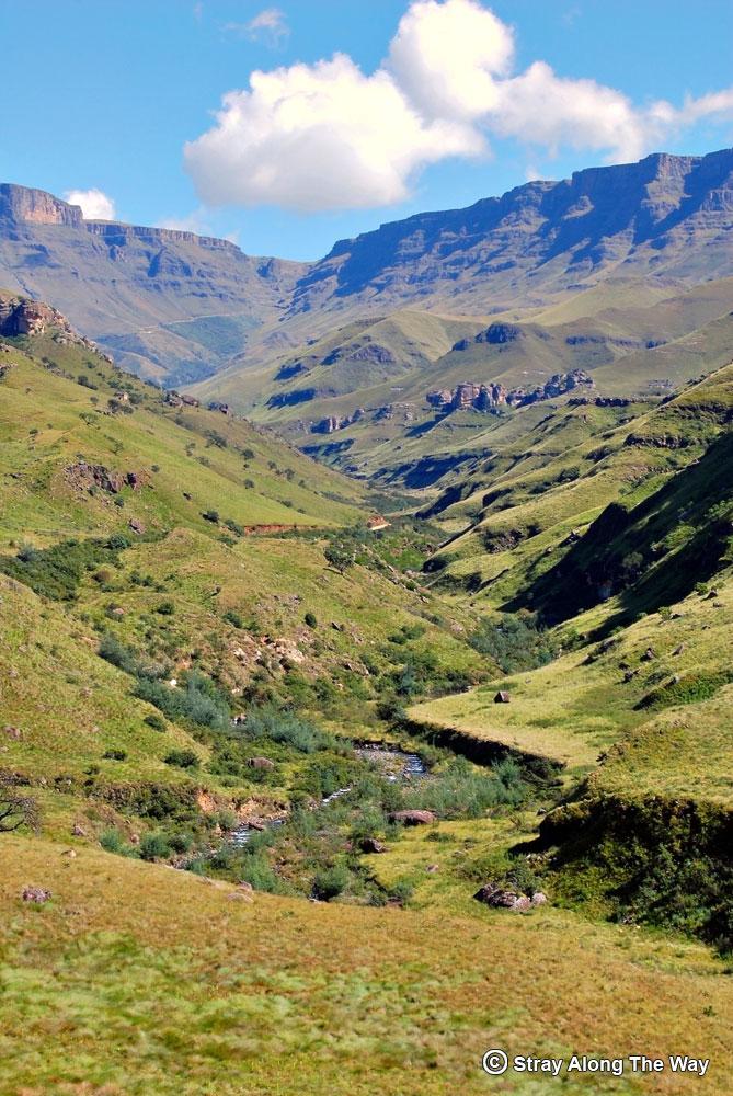 The gully up the impenetrable uKhahlamba Drakensberg range.
