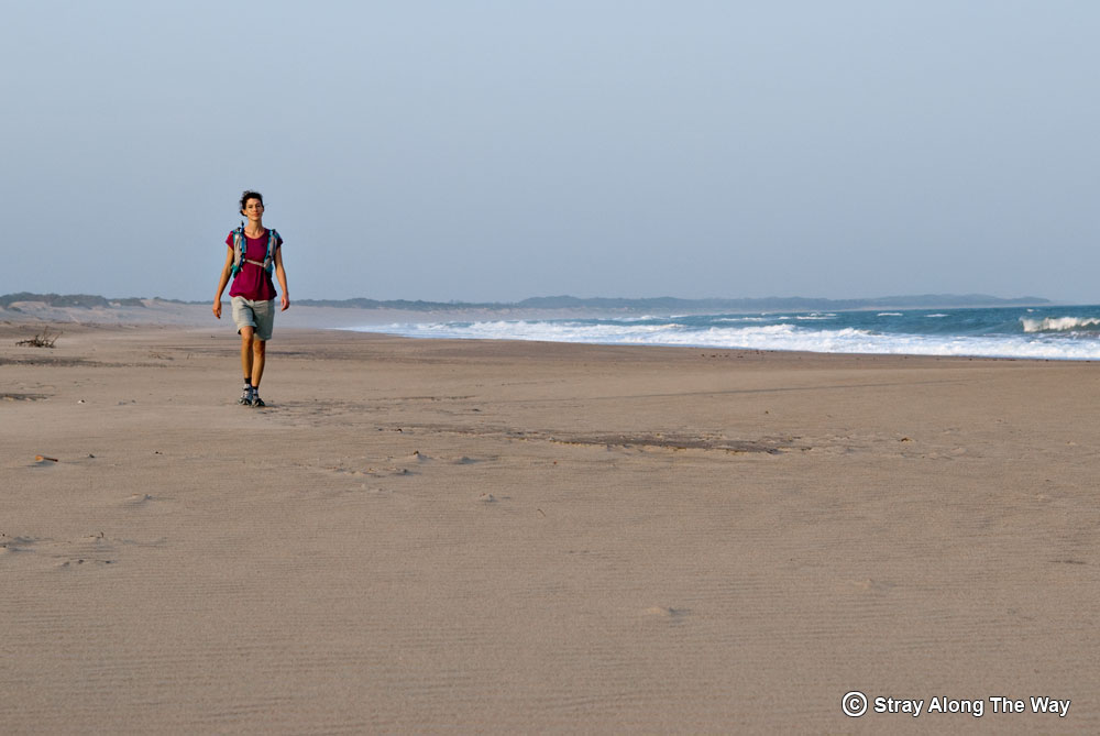 Jill on the beach section of the Siyaya Trail.