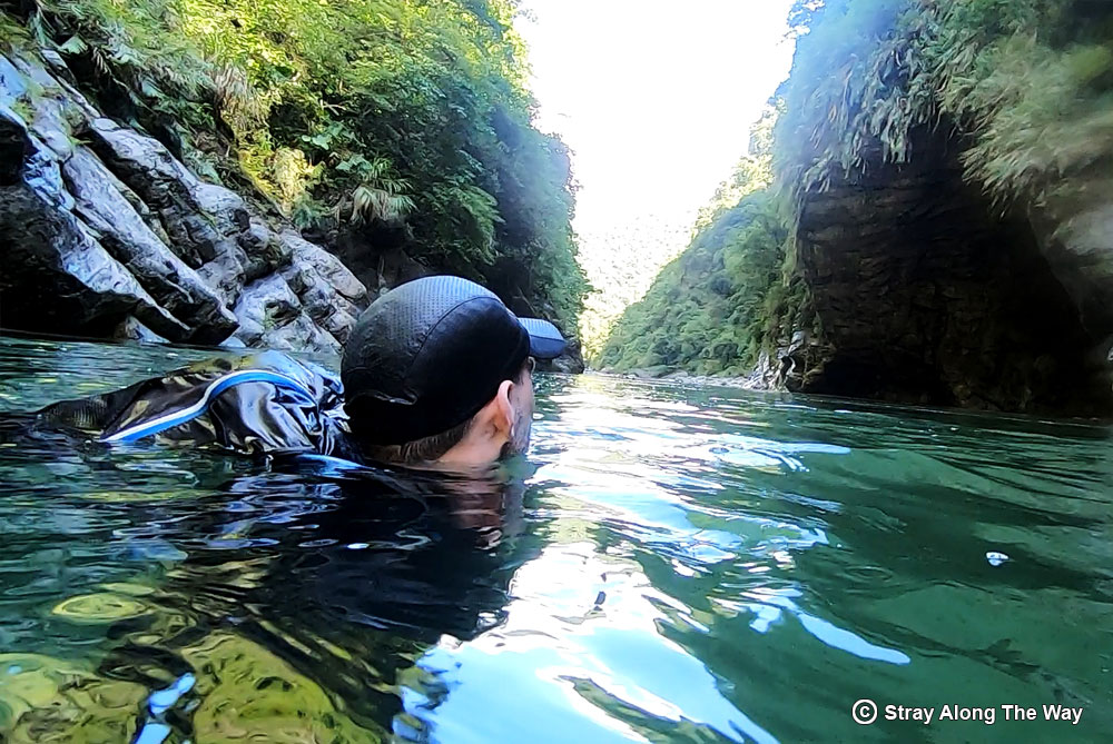 """Bevan swimming a section of the Golden Grotto """"hiking"""" trail."""