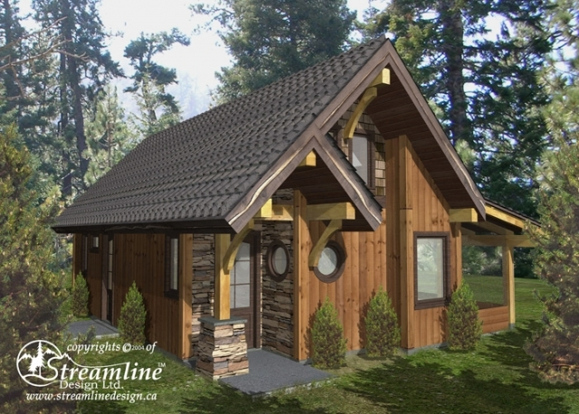 Small timber frame home plans designs for Timber frame house plans cottage