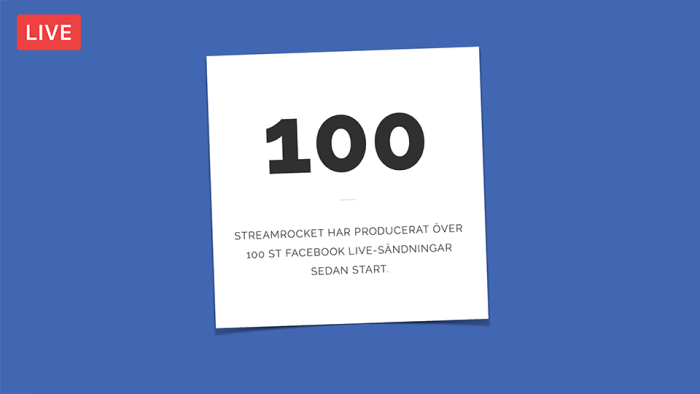 100 Facebook Live sändningar StreamRocket
