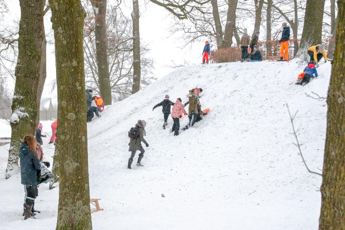 Sneeuwpret op eerste schooldag