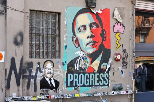 shepard fairy's obama poster on the streets of williamsburg, brooklyn