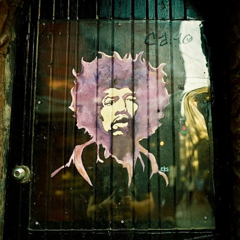 jimi hendrix street art in the west village of nyc outside of cafe wha