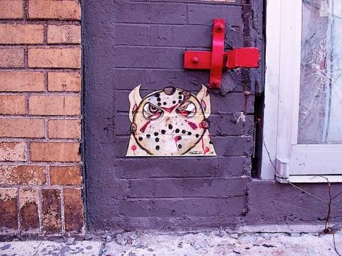rednose with jason's hockey mask on street art
