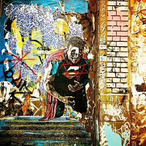 superman street art by primo in NYC