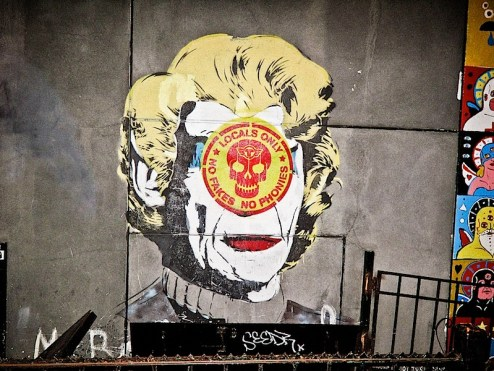 mr brainwash (MBW) defaced in SoHo NYC - no fakes, no phonies