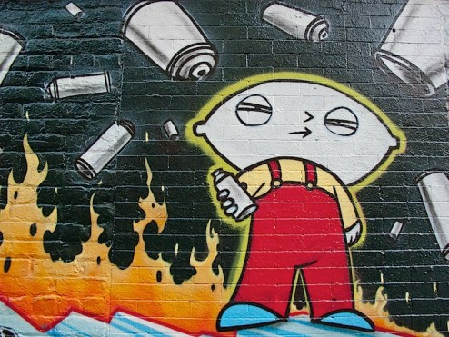 graffiti of stewie holding a spray can in the east village of NYC