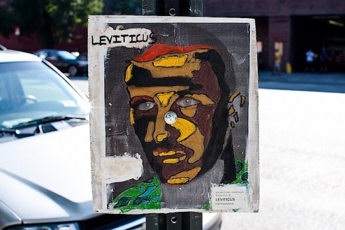a portrait piece by street artist leviticus in SoHo NYC