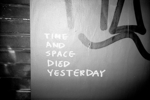 time and space died yesterday street art in NYC