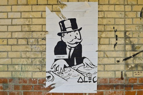monopoly man dj street art by alec in NYC