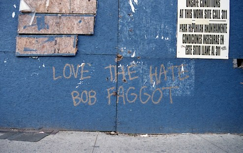love the hate street art graffiti in NYC by bob faggot