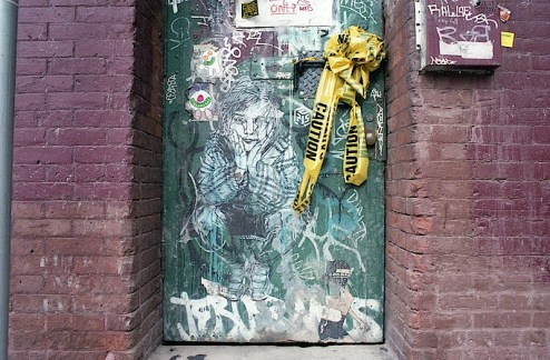 street art by c215, kid acne, jesus saves and fuck no evil in dumbo, brooklyn