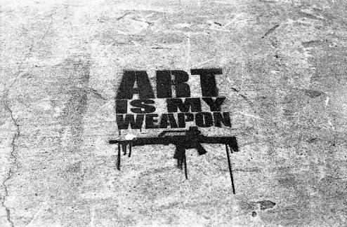 street art graffiti by TMNK aka Nobody - art is my weapon