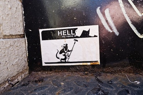 banksy street art sticker found in SoHo NYC