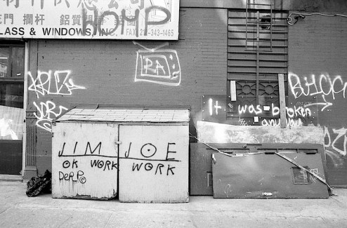 ok work work graffiti by jim joe in chinatown, nyc