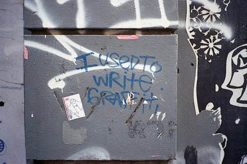 i used to write graffiti written on a wall in nyc