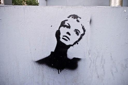 a twiggy street art graffiti stencil in SoHo, NYC