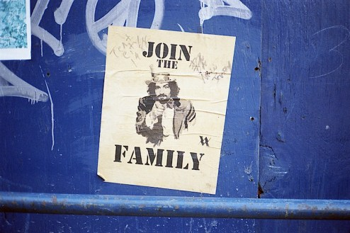 """charlie manson street art """"join the family"""" founf in nyc"""