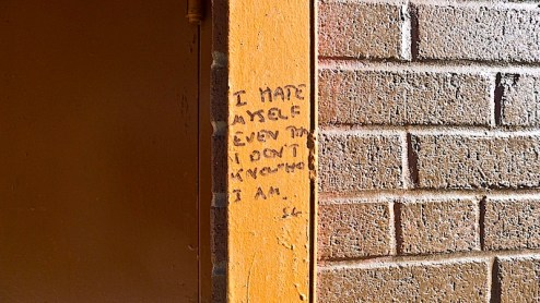 i hate myself even though i don't know who i am graffiti found in NYC