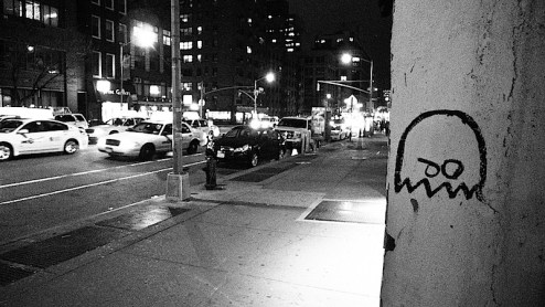 pacman ghost graffiti found in nyc