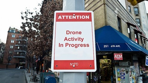 drone activity in progress sign found in the west village of NYC