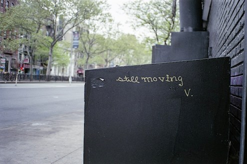 still moving graffiti by v in the lower east side of NYC