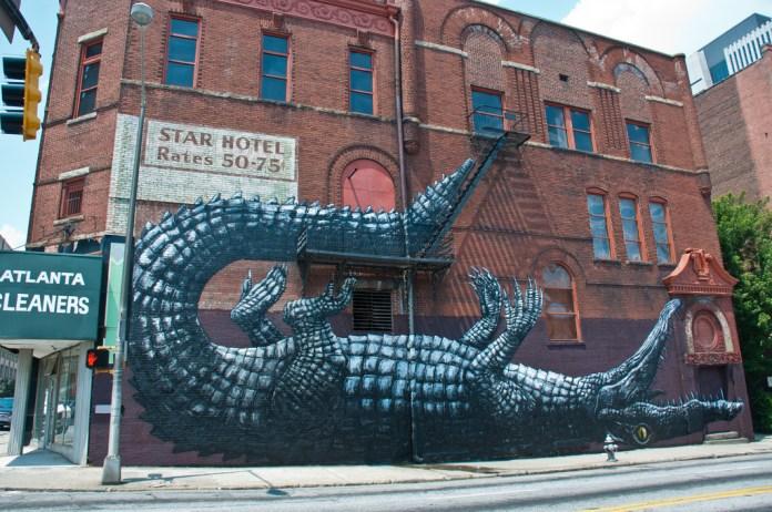 Street Art by ROA in Atlanta, Georgia, USA.