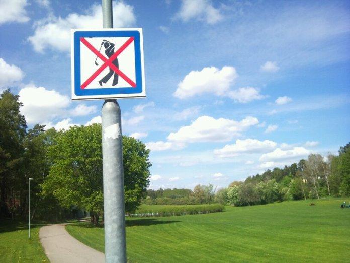No golf sign – In Stockholm, Sweden
