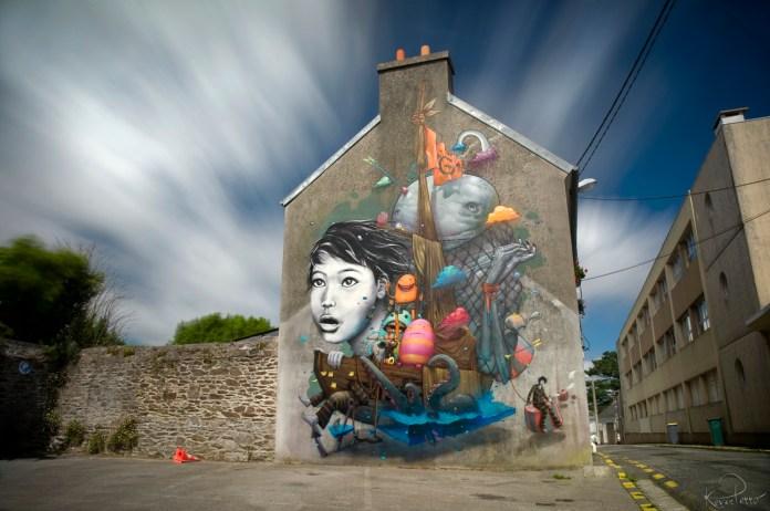 Street Art by Liliwenn & Bom K in Brest City, France