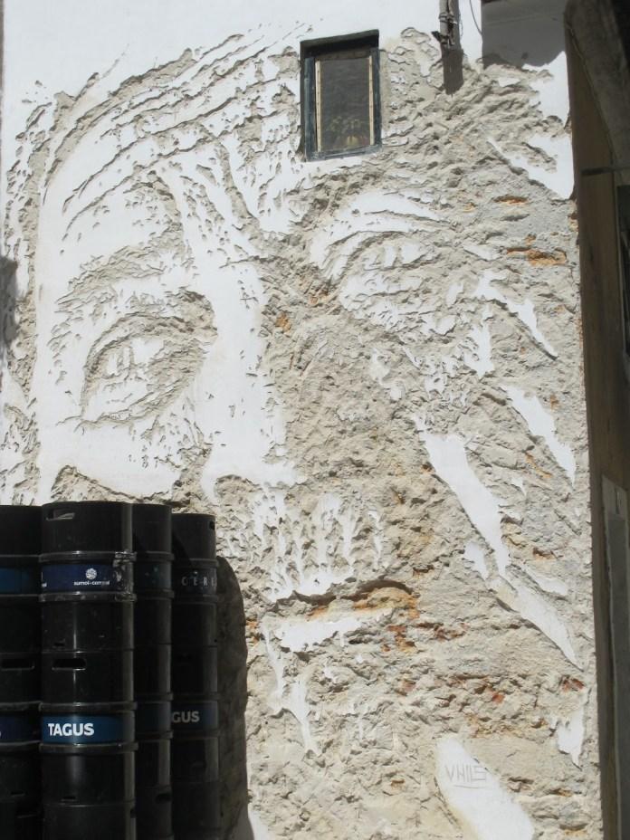 Street Art by Vhils in Lisbon, Portugal
