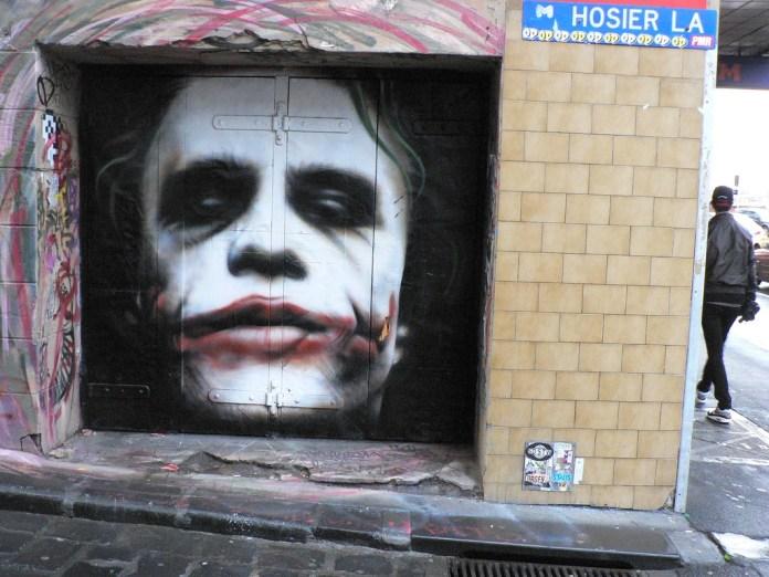 Heath Ledgers as Joker – In Hosier Lane, Melbourne, Australia