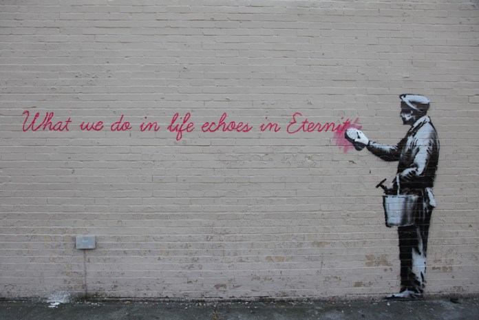 Street Art by Banksy in Queens, New York, USA
