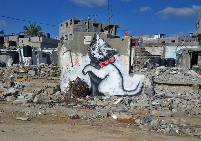 Street Art by Banksy in Gaza, Palestine (photos and video)