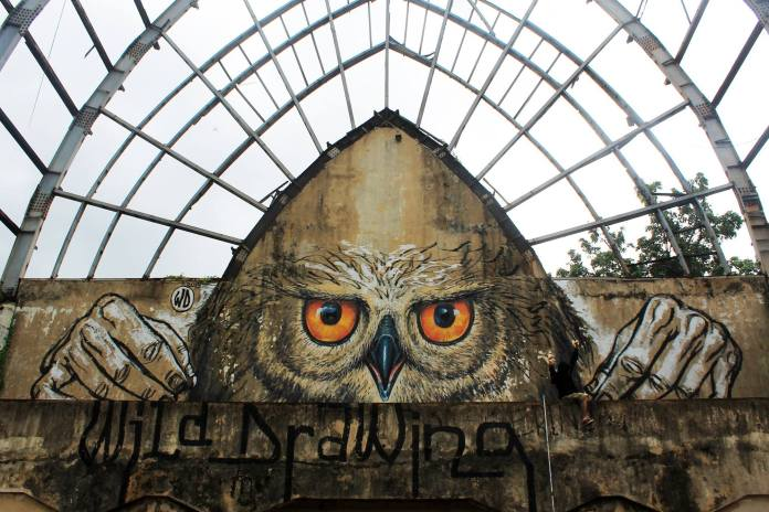 Street Art by Wild Drawing 2015 - Owlself in Bali, Indonesia