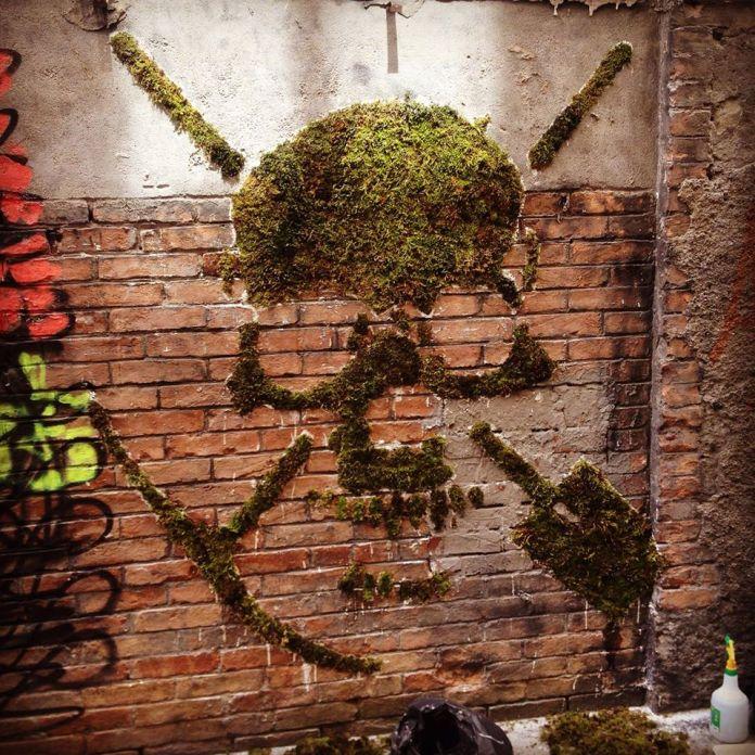 Moss Graffiti by GREEN in Lyon, France