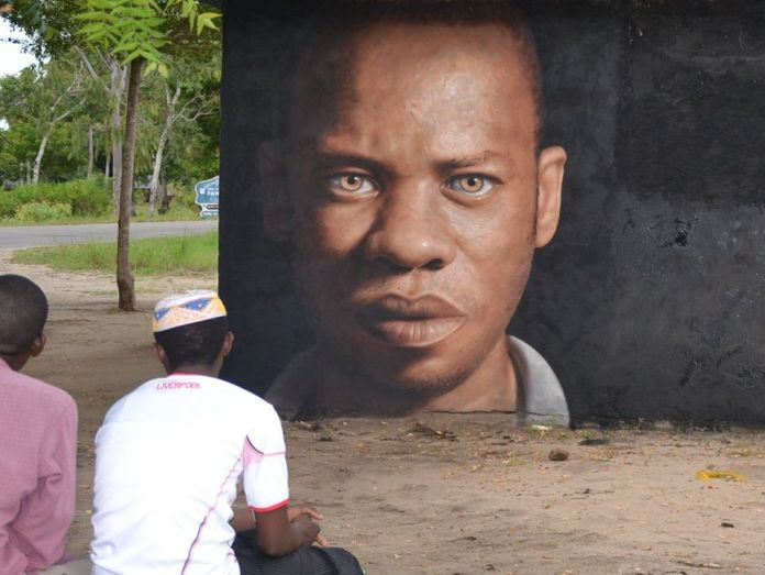 Zuberi spray on wall Tanzania