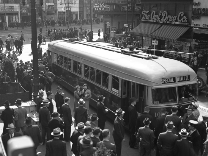 Muni bought five PCC-like streetcars in 1939, but it was all they could afford, and they had to use two-operator crews to run them.  SFMTA Archives.