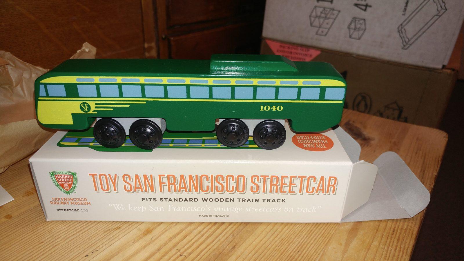 Toy Pcc Streetcar For Kids Wooden Train Sets Market Street Railway