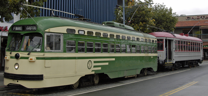 The two streetcars scheduled to be used on August Trolley Tours: PCC No. 1050 (left) and venerable Muni Car No. 1.  Peter Ehrlich photo.