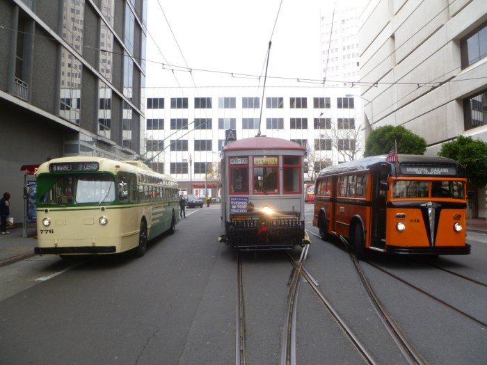 These three historic transit vehicles are just some of those that will be operating on Muni Heritage weekend.  From left, 1950 Marmon-Herrington trolley coach No. 776, 1912 Muni streetcar No. 1, and 1938 White motor coach No. 042