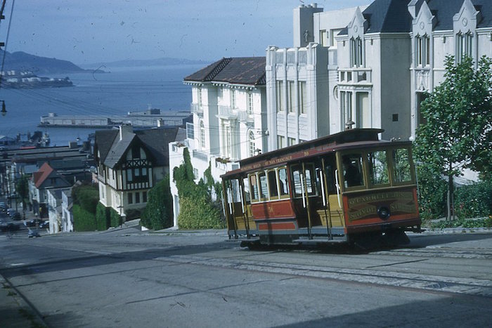 DG0044, Muni O'Farrell, Jones & Hyde line cable car 50, Hyde bet. Francisco & Chesnut Sts, May 11,1954(Phillip Scherer) 700px wide