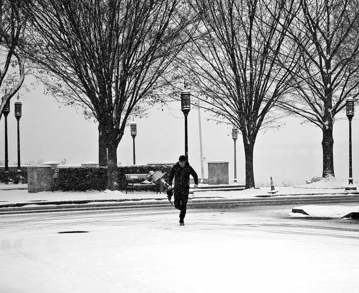 Running man in the snow