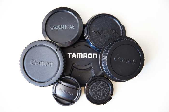 A collection of lens caps