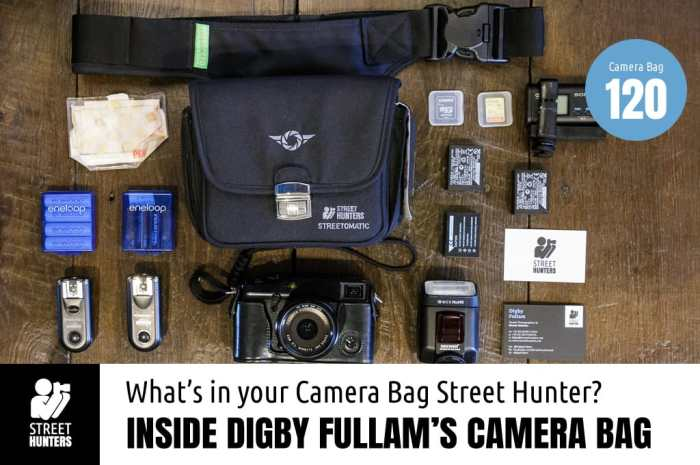Inside Digby Fullam's Camera bag