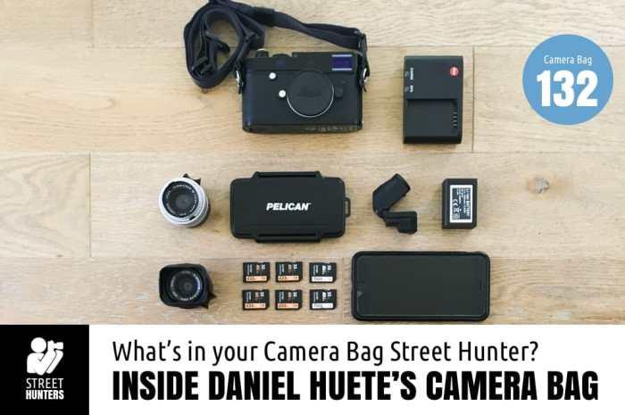 Inside Daniel Huete's camera bag